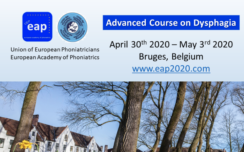 EAP 2020 Advanced course on Dysphagia,  Bruges Belgium | 30 April – 3 May 2020 (postponed till 3-6 Dec, 2020)